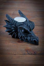Teelichthalter Drachenkopf Dekoration Mittelalter LARP