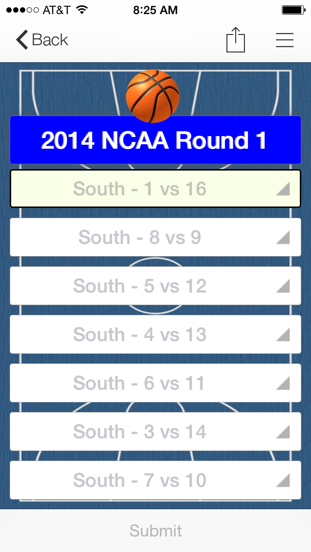 Example NCAA Basketball Tourney Bracket form on inBound