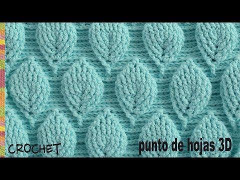 159) Punto hojas 3D (¡con mucho relieve!) tejido a crochet ...