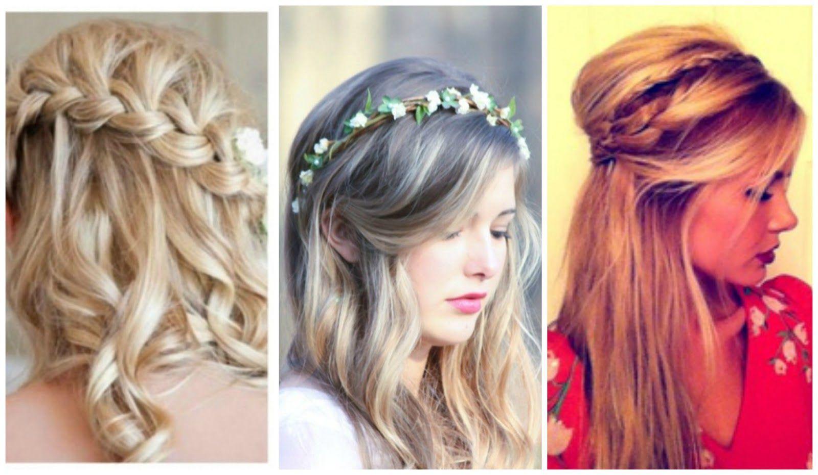 Peinado con trenza trenza corona de flores pelo diadema - Peinados recogidos con trenzas ...