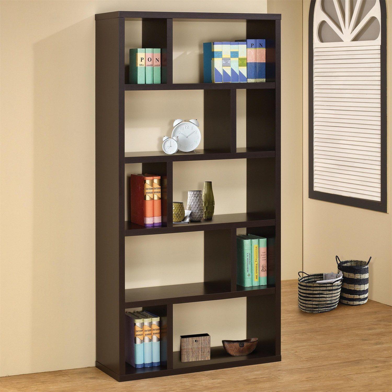 coaster furniture  contemporary bookshelf in cappuccino  - coaster furniture  contemporary bookshelf in cappuccino