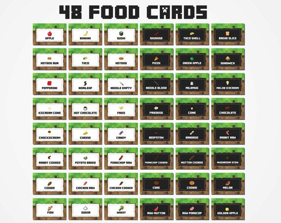 free printable minecraft food tent cards bathroom pinterest