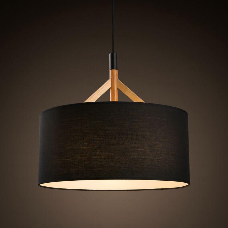 Brief Drum Pendant Light Fabric Shade Black