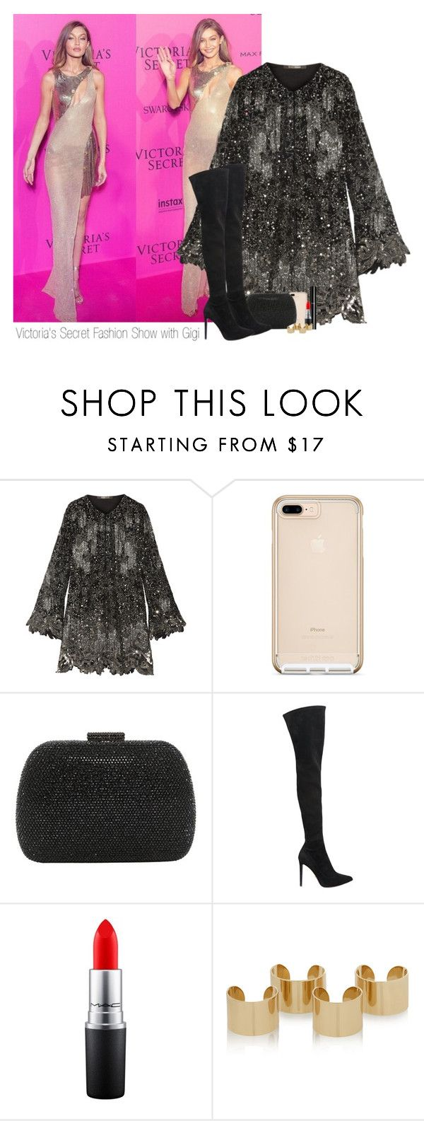 """Victoria's Secret Fashion Show with Gigi"" by sophie-188 ❤ liked on Polyvore featuring Roberto Cavalli, Serpui, Sergio Rossi, Chanel, MAC Cosmetics and Maison Margiela"