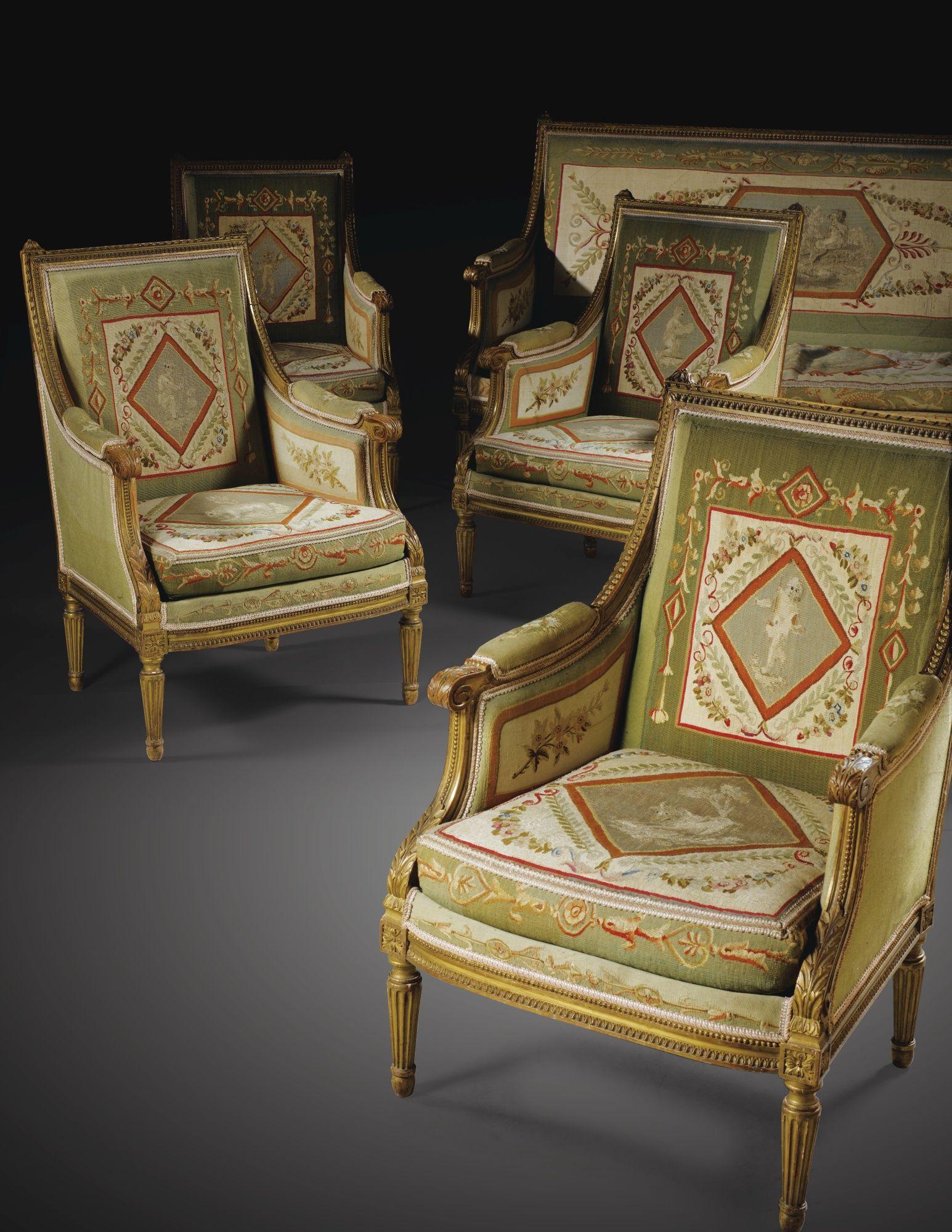 Salon Style Louis 16 mobilier de salon en bois dorÉ de style louis xvi, fin du xixe