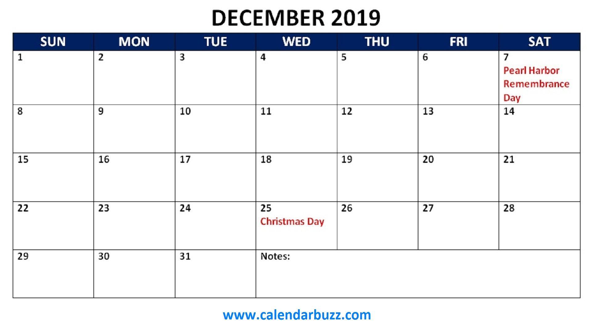 Calendar Of Holidays December 2019 december 2019 holidays calendar printable | 2019 Calendars