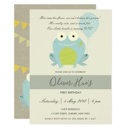 CUTE ELEGANT GREEN BLUE FROG KID BIRTHDAY INVITE