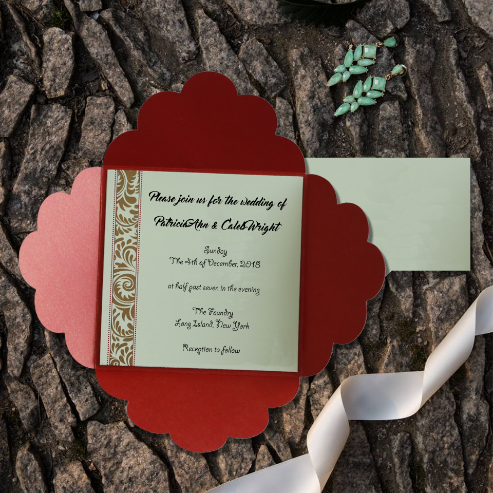 Red ❤️shimmery and floral theme wedding invitation!!😍😍 Save 10 ...