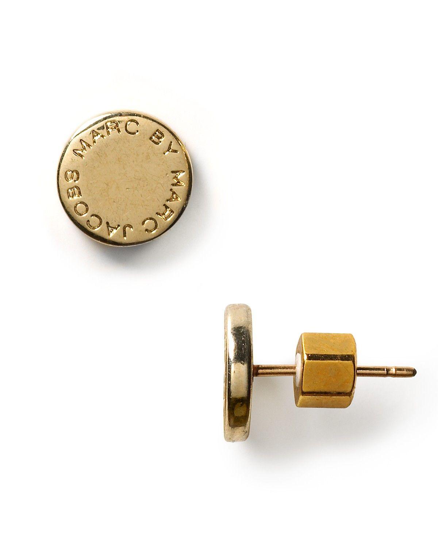 MARC BY MARC JACOBS Logo Disc Stud Earrings   Bloomingdale's