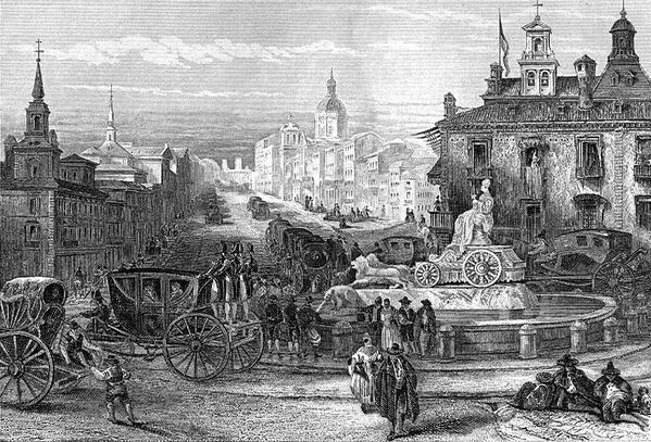 Cibeles y Alcalá. Hacia 1860