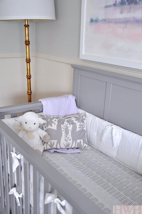 Purple And Gray Nursery Features Top Half Of Walls Painted