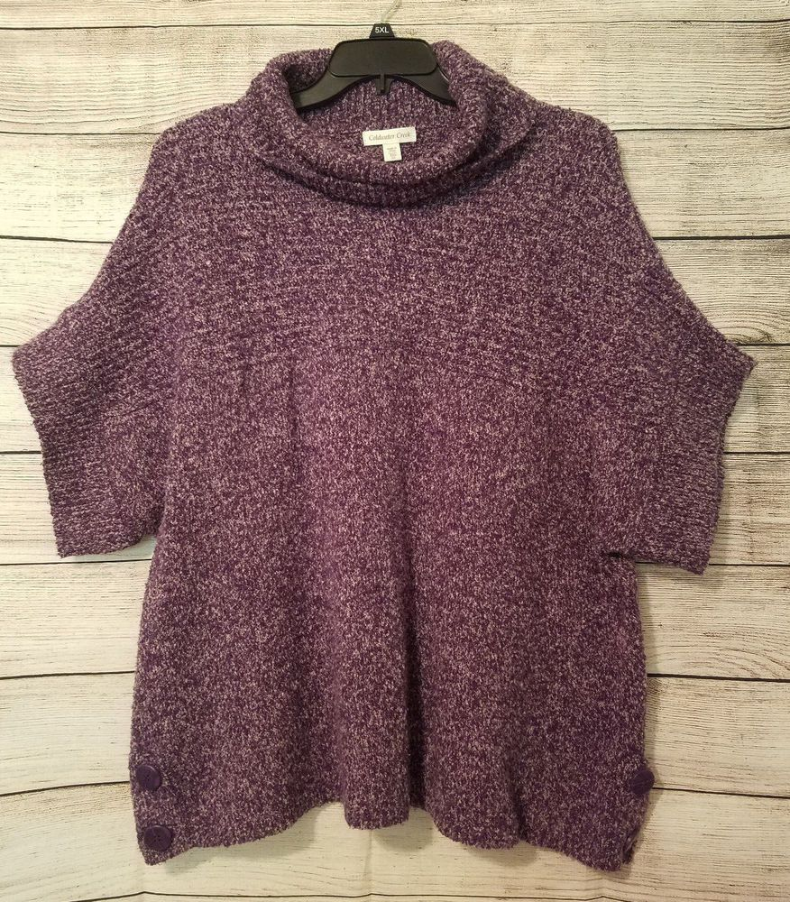 XXL COLDWATER CREEK Purple Marled Dolman Sleeve Cowl Neck Sweater ...