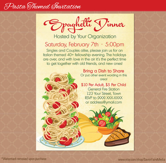 Spaghetti Dinner Flyer Poster  Pasta Italian Night Dinner