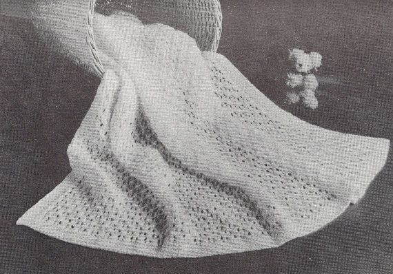 Astra Shawl • 1950s Knit Baby Baptism Afghan Pattern ...