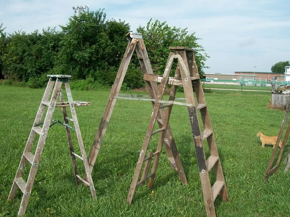 Vintage Wooden 7 Step Ladders For Decorating Wood Surface Or Painted Ladders Doesnotapply Step Ladders