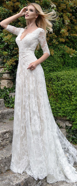 Fantastic lace vneck neckline dropped waistline aline wedding