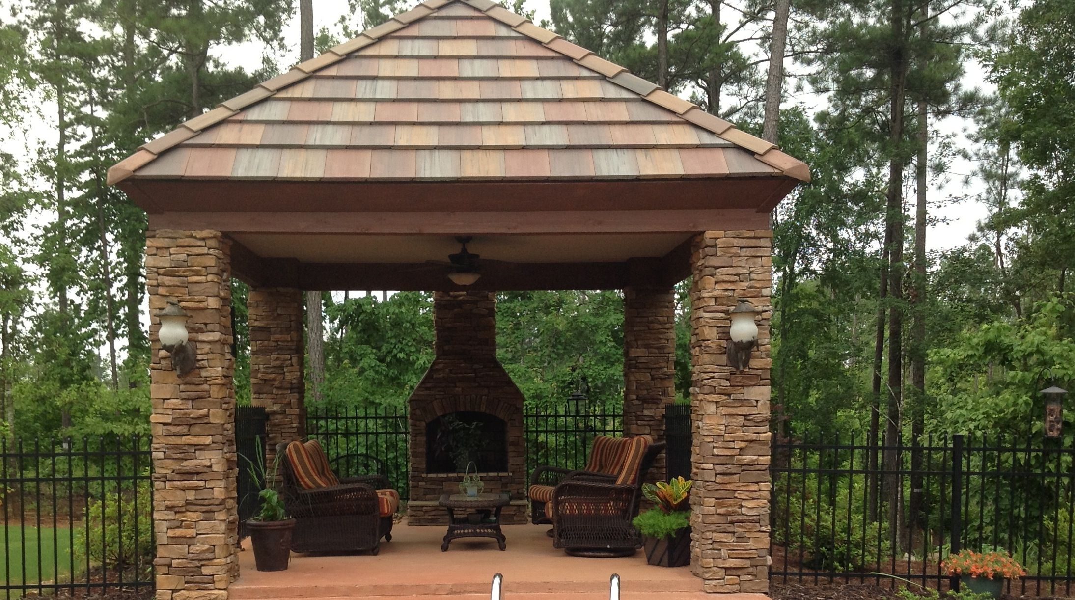 Gazebo with fireplace outdoor patios porches for Outdoor gazebo plans with fireplace