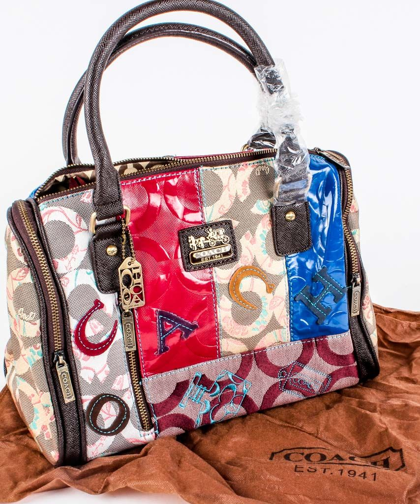 Lot 8 In The 4 15 Online Live Auction Authentic Coach Designer Multi Color Patchwork Handbag With Zip Top Closure And Two Close Side Pockets