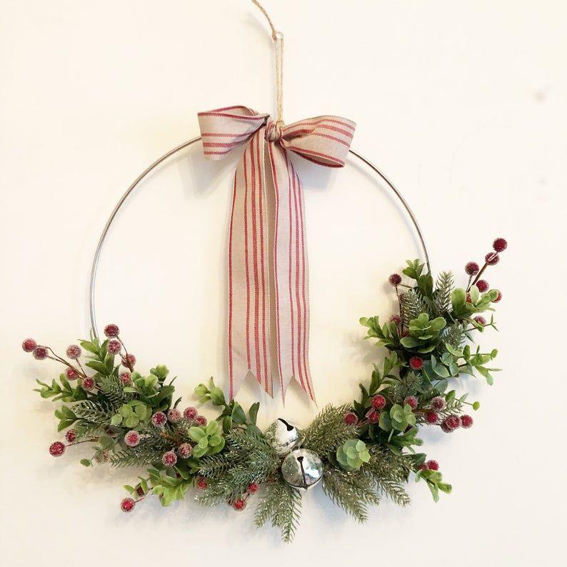 """Photo of READY TO SHIP, 12"""", Christmas Hoop Wreath, Christmas Wreath,  Holiday Wreath, Red Berries Wreath, Farmhouse Style Christmas Wreath"""