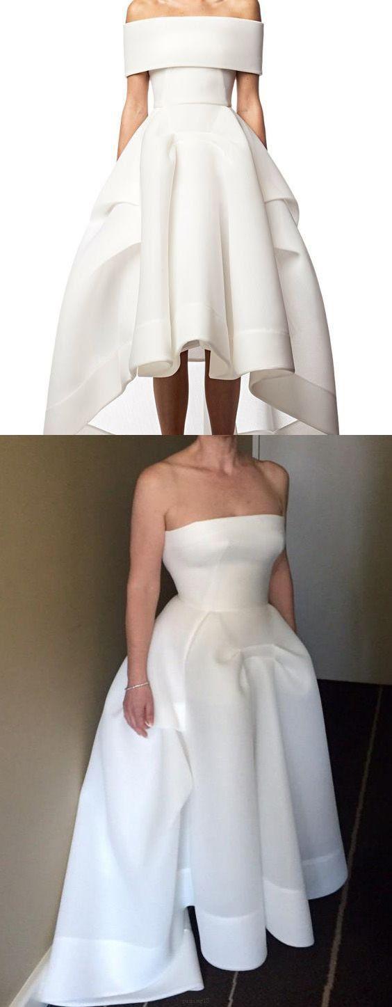 Asymmetrical wedding dress long white dresses with zipper pleated