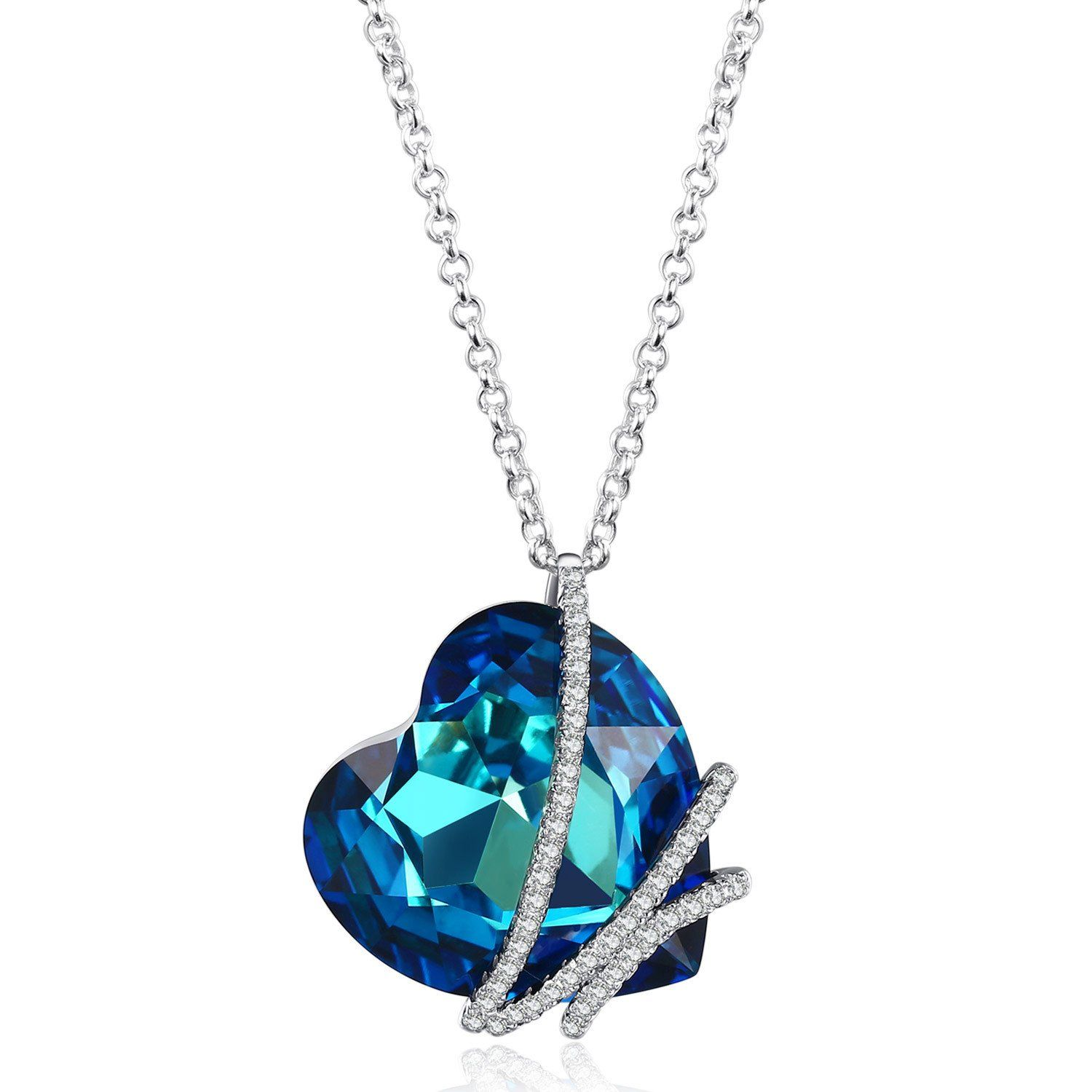 "Caperci Sterling Silver ""Heart of the Ocean"" Blue Swarovski"