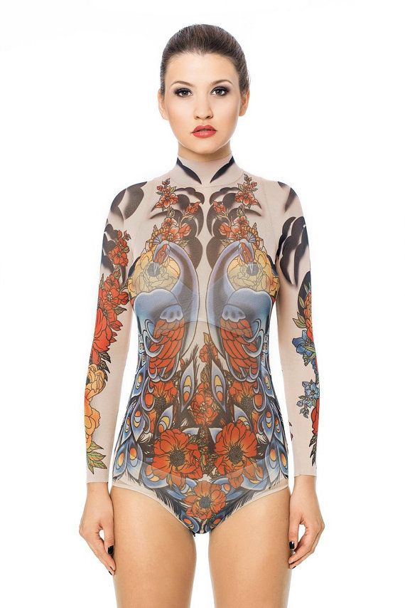 64944aadc0a2e NEW! - ROYAL PEACOCKS Tattoo Bodysuit