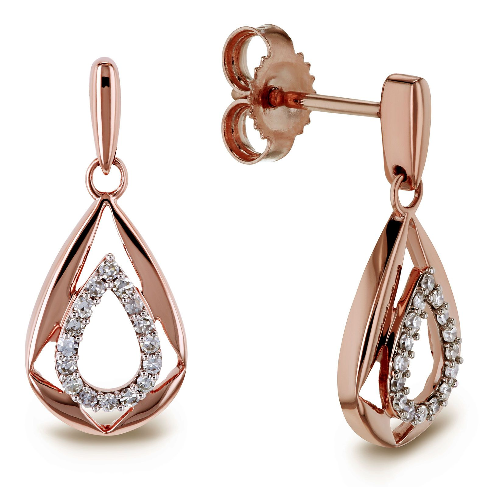Diamond Droplet Dangle Earrings 10k Rose Gold Rose Gold Earrings Dangle Earrings Diamond