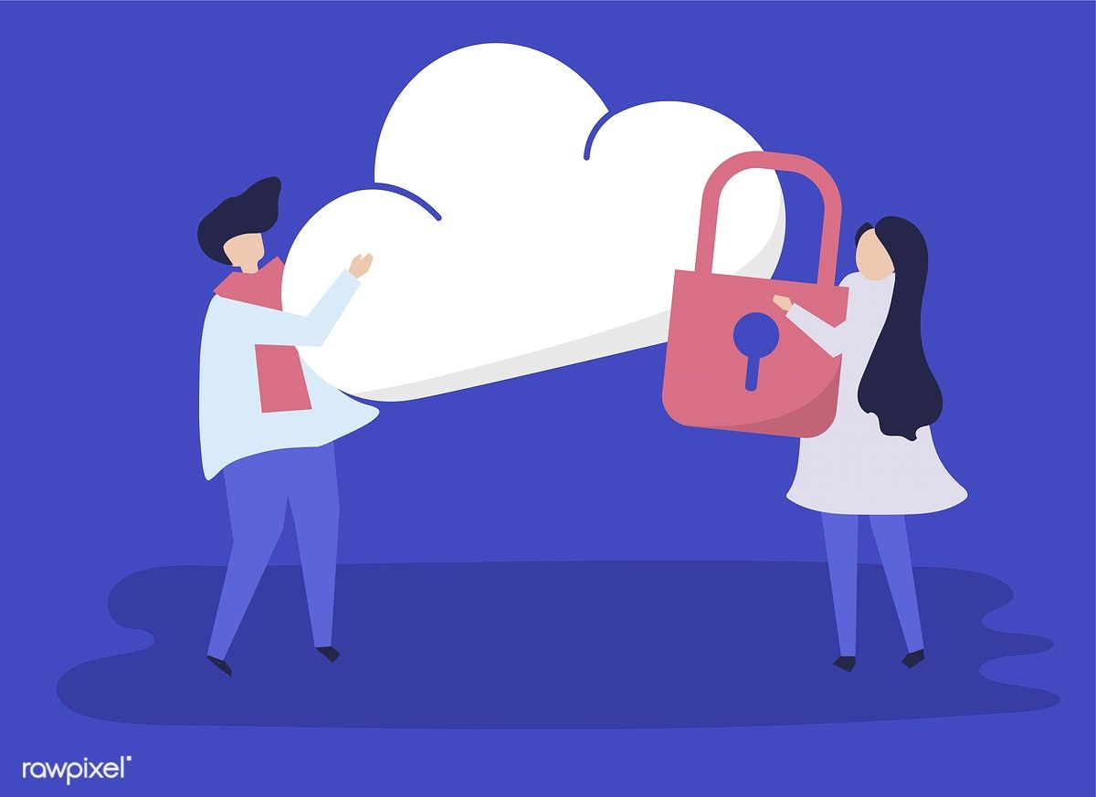 Download Premium Vector Of Characters Of A Couple And A Cloud Security Free Vector Illustration Vector Free Clouds