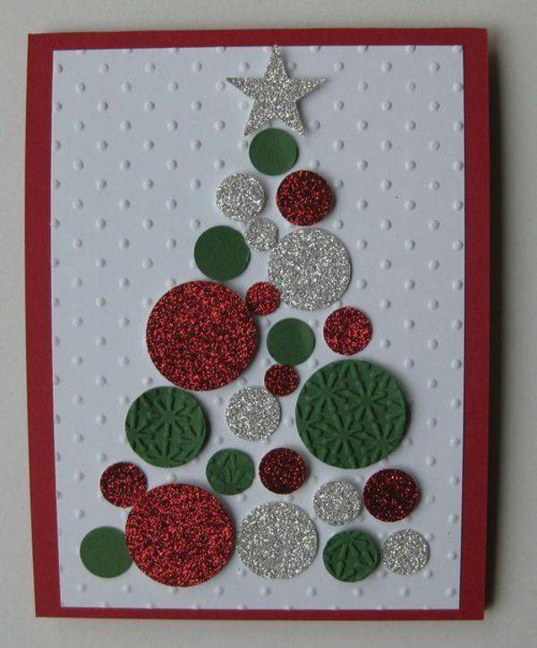 Weihnachtskarten basteln ideen tannenbaum festlich for Weihnachtskarten selber basteln vorlagen kostenlos