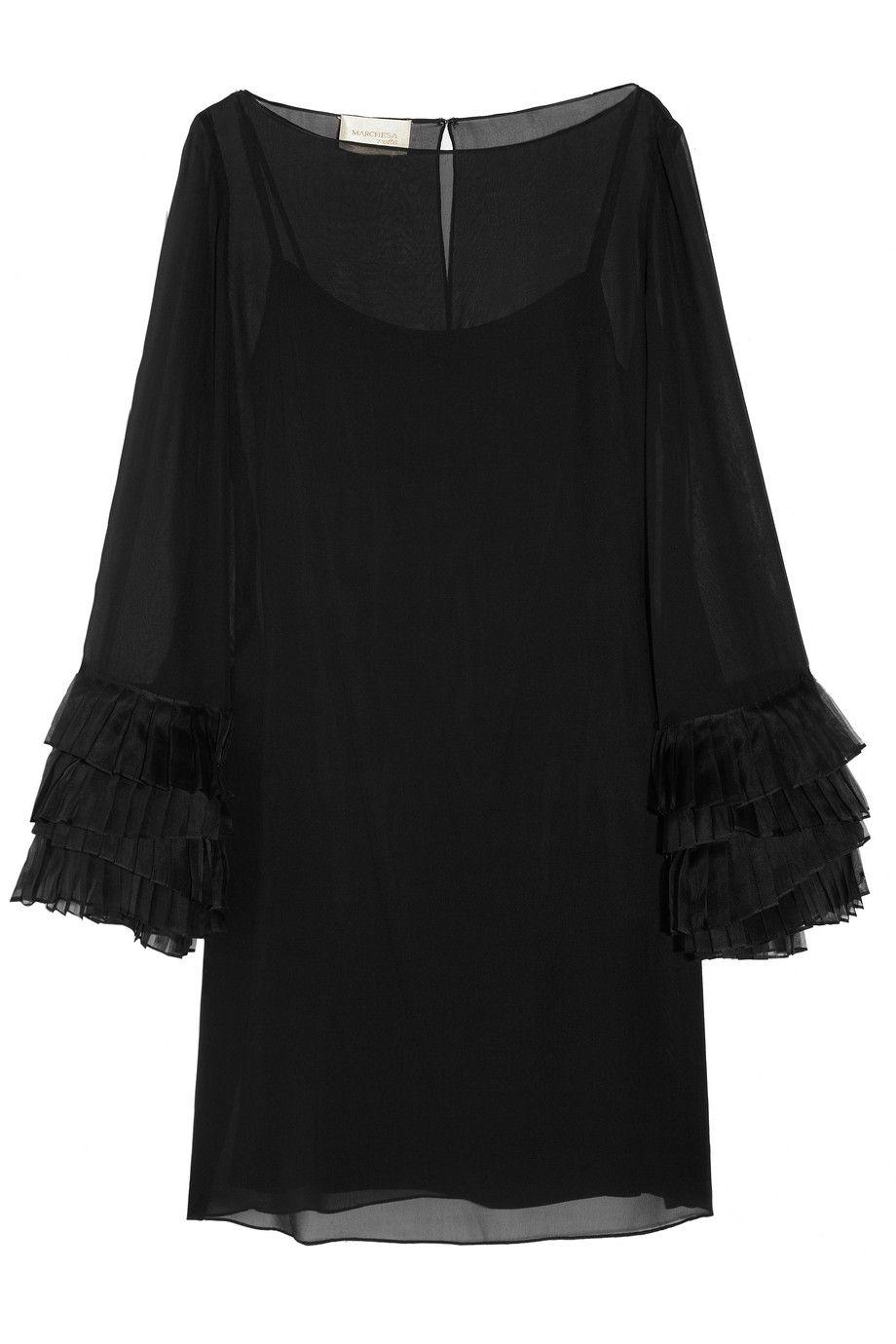NOTEE BY MARCHESA: Organza trimmed silk chiffon dress