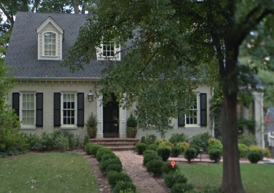 Sage Green Painted Brick With Black Shutters House Paint Exterior Painted Brick House Exterior Brick