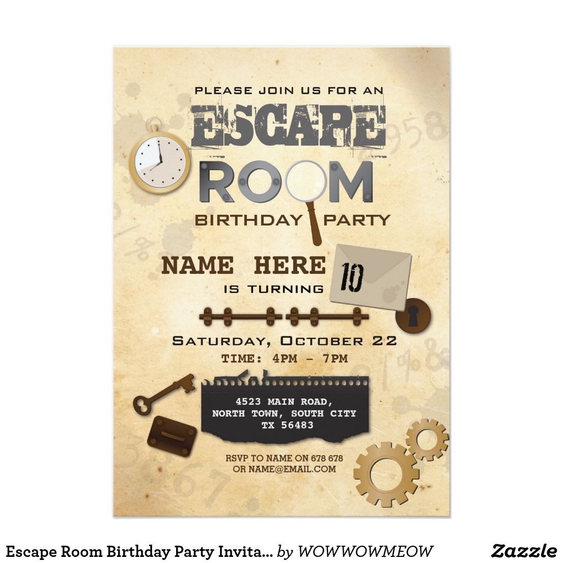 Escape Room Birthday Party Invitation Clues Spy  Zazzle.com