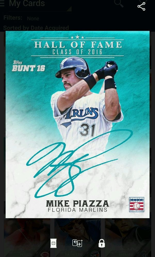 Topps Bunt 2016 Hall Of Fame Signature Mike Piazza Florida