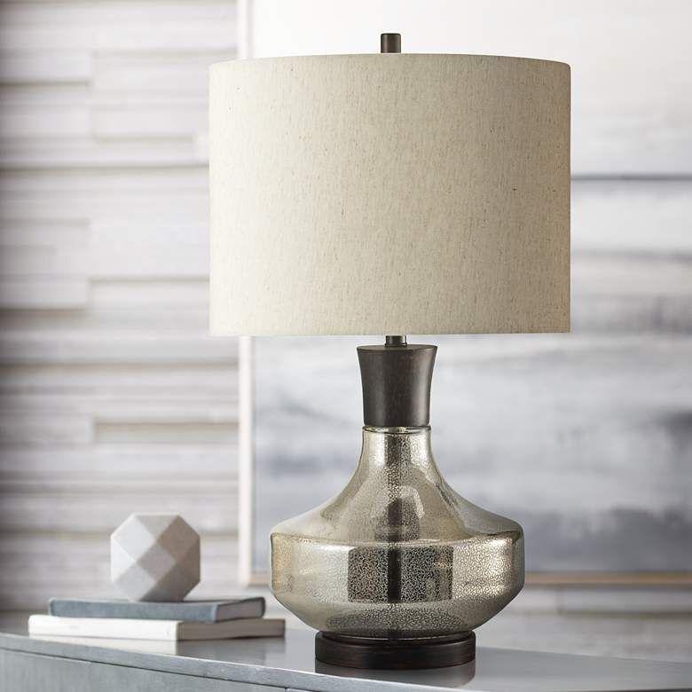 Mercury Glass Table Lamp With Taupe Hardback Fabric Shade 60w49 Lamps Plus Mercury Glass Table Lamp Mercury Glass Lamp Table Lamp