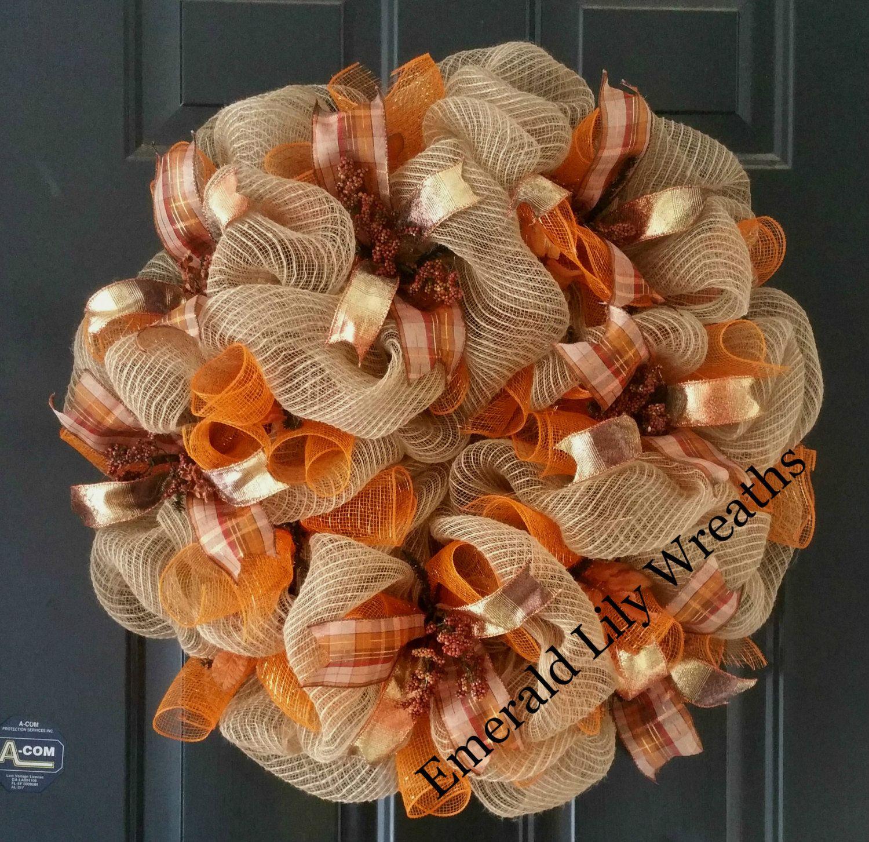 Fall Wreath - Fall Wreaths - Fall Wreath with Berries - Fall Deco Mesh Wreath - Burlap Wreath - Fall Burlap Wreath - Autumn Wreath #decomeshwreaths