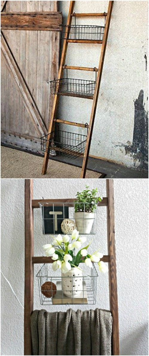 40 Wooden Ladder Repurposing Ideas That Add Farmhouse Charm To Your Home Old Ladder Decor Wooden Ladder Decor Wooden Ladder