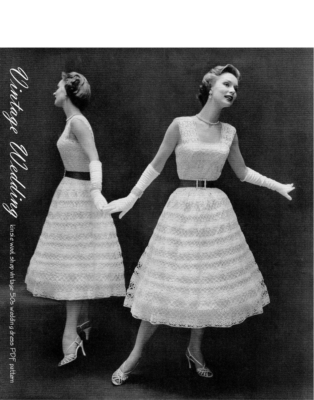PDF PATTERN Vintage 50s Crochet Lace Wedding Dress PDF