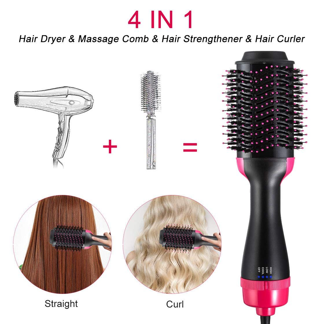 Professional One Step Hair Dryer Brush Volumizer Blow Straightener And Curler Salon 2 In 1 Electric Hot Air Curling Iron Comb Presspia Hair Dryer Brush Hair Dryer Hair Brush Blow Dryer