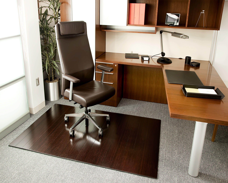 Bamboo deluxe rollup chairmat 72 x 48 no lip dark