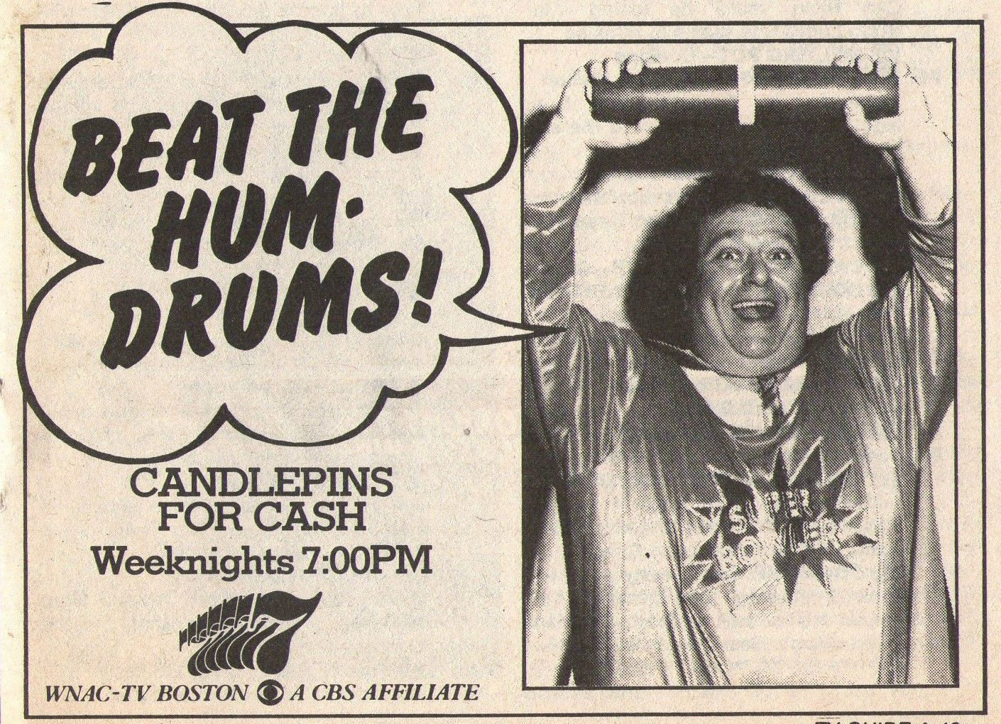 Candlepins for Cash (WNAC) TV Guide ad, 1979