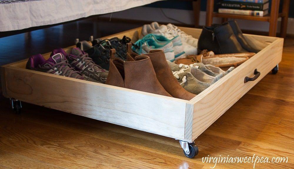 Diy Under Bed Storage Drawer Make A Drawer On Wheels To Store Shoes Under Your Diy Under Bed Stor In 2020 Bed Storage Drawers Under Bed Drawers Bed Storage