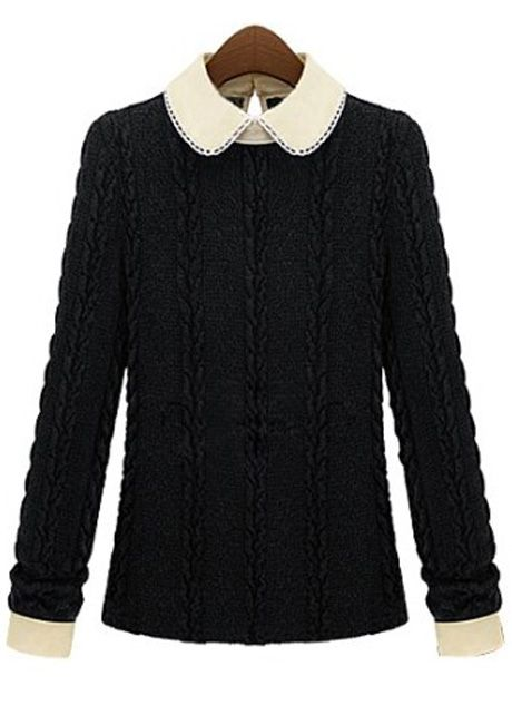 wholesale Fashion Peter Pan Collar Wine Red Long Sleeve Sweater