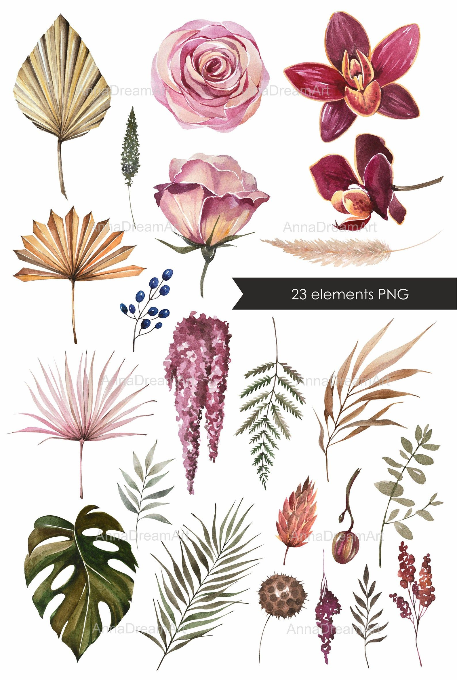 Watercolor Clipart Dried Flowers And Leaves Flower Elements Etsy Watercolor Flowers Floral Wreaths Illustration Leaf Illustration