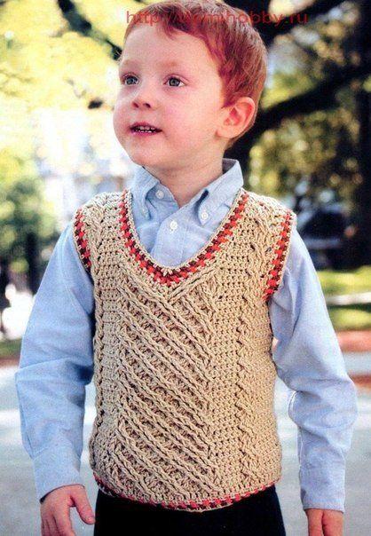 delicadezas en crochet gabriela chaleco de nio incluye dos modelos