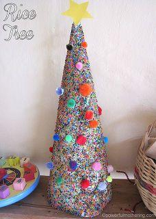 christmas rice tree craft for kids decor idea, christmas decorations, crafts, seasonal holiday decor