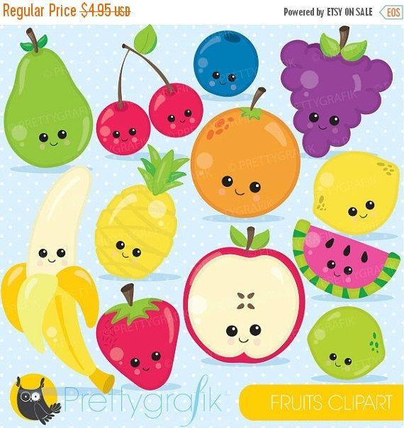 Buy 20 Get 10 Off Fruit Clipart Characters Clipart Commercial Etsy Dibujos De Frutas Frutas De Foami Manualidades