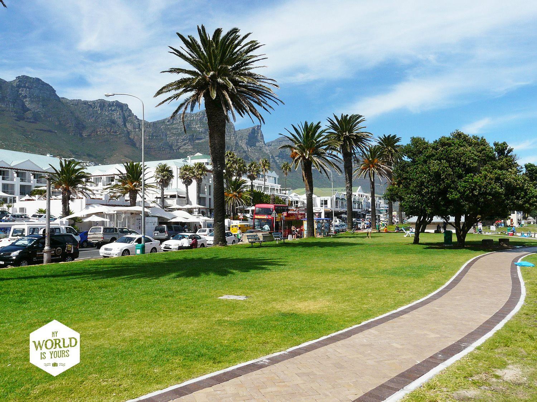 Camps Bay is Kaapstad op stand, met overdag zon, zee en strand en tegen de avond jazzbandjes, toprestaurants, wijnbarretjes en als de dag van datum verwisselt kan je terecht bij dj's in hippe dance clubs. Photo: Camps Bay, Cape Town, South Africa