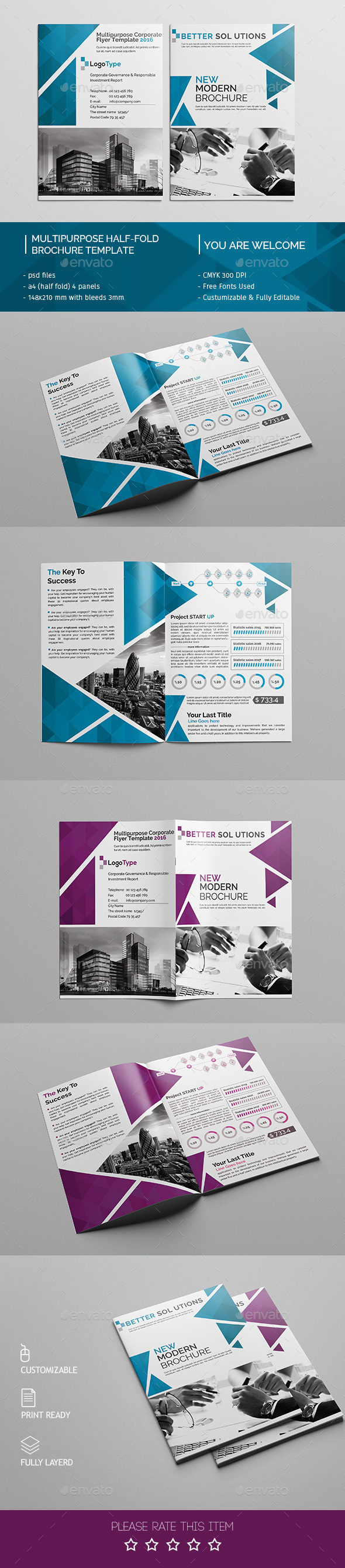 Corporate BiFold Brochure Template   Brochures Design And