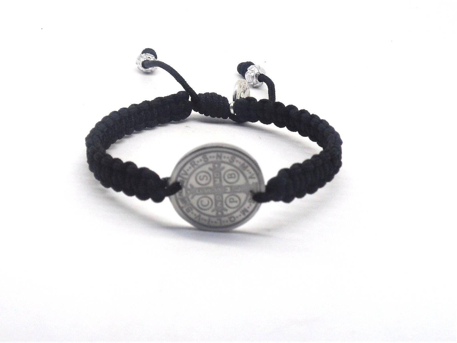 saint benedict medal macrame bracelet mens catholic bracelet