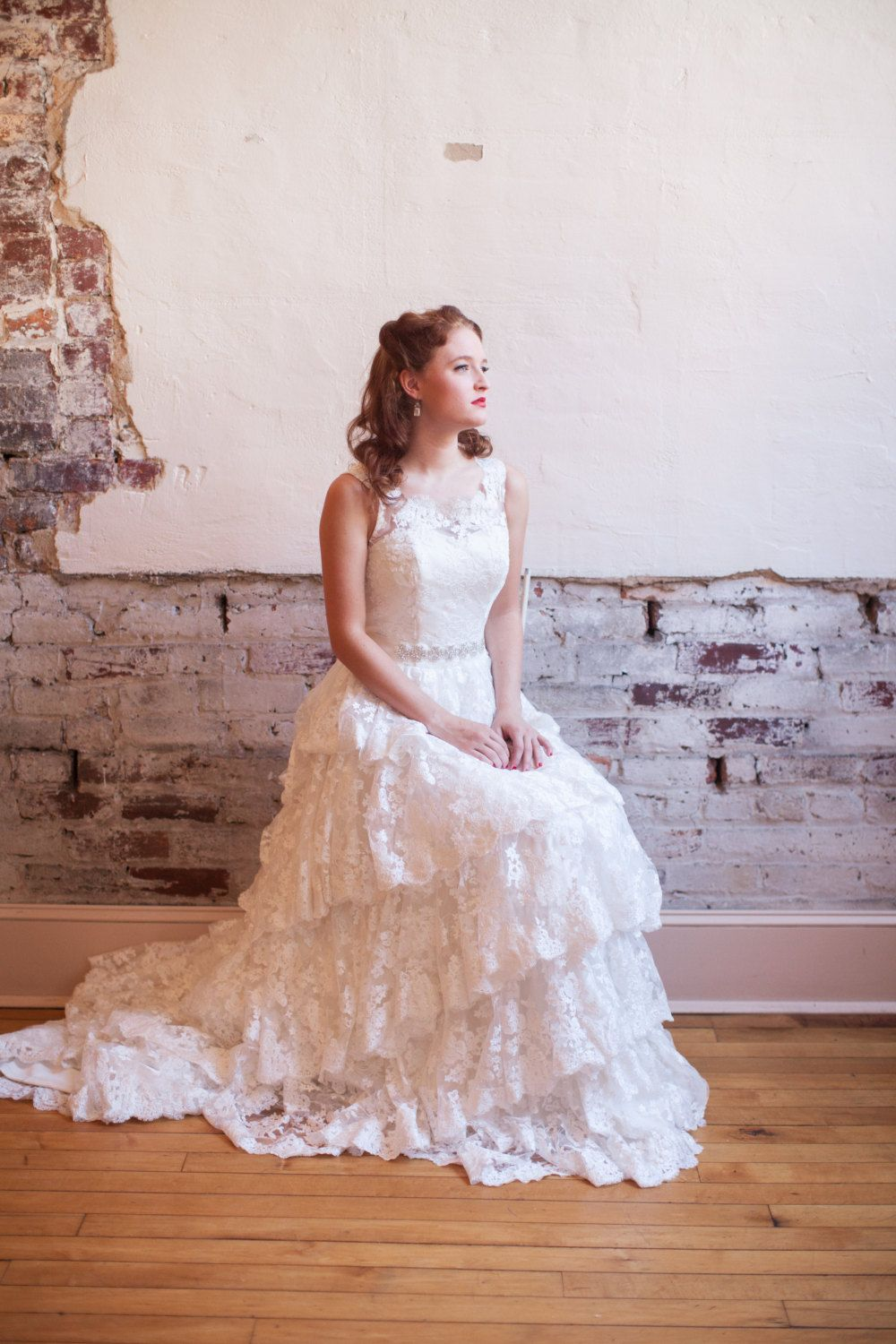 Tiered lace wedding dress with illusion by thepeppermintpretty